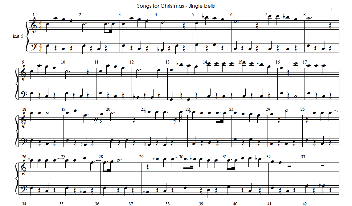 Piano learning / Articles / The sheet music of Jingle bells